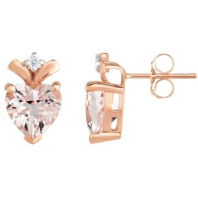 Heart Shape Morganite Earrings with Diamond in 14K Rose Gold