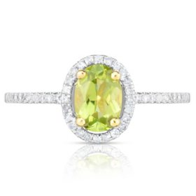 Oval Peridot Ring with Diamonds in 14K Yellow Gold