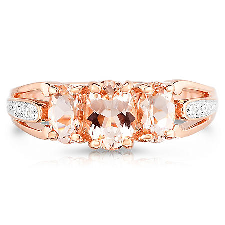 Oval Morganite Ring with Diamonds in 14K Rose Gold