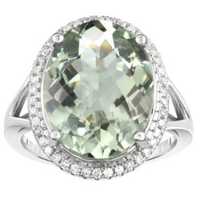 Oval Green Amethyst and 0.30 CT. T.W. Diamond Ring in 14 Karat White Gold