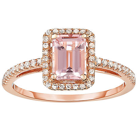 Emerald Cut Morganite and 0.20 CT. T.W. Diamond Ring in 14K Rose Gold