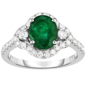 Oval Emerald and 0.60 CT. T.W. Diamond Ring in 14 Karat White Gold
