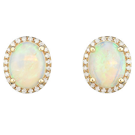 Oval Opal and 0.25 CT. T.W. Diamond Earrings in 14 Karat Yellow Gold