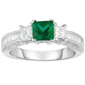 Princess Cut Emerald and 0.84 CT. T.W. Diamond Ring in 18 Karat White Gold