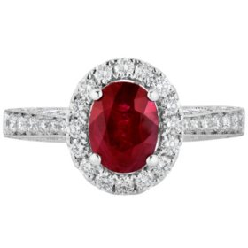 Oval Ruby and 0.50 CT. T.W. Diamond Ring in 18 Karat White Gold