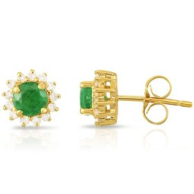 Round Emerald Earrings with Diamonds in 14 Karat Yellow Gold