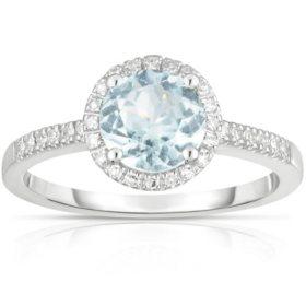 Round Aquamarine Ring with Diamonds in 14K White Gold