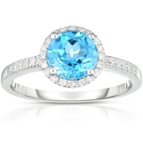 Round Blue Topaz Ring with Diamonds in 14K White Gold