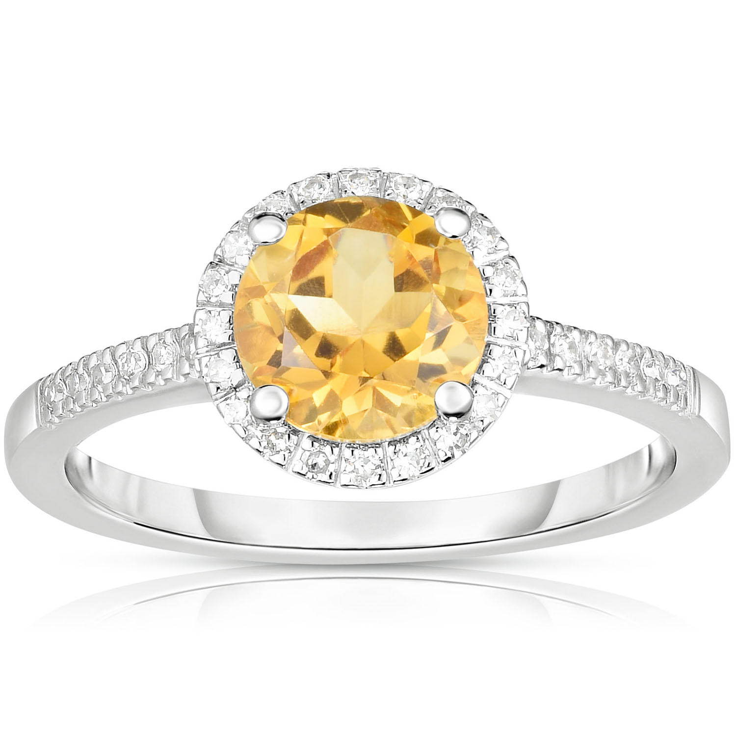 Round Citrine Ring with Diamonds in 14K White Gold