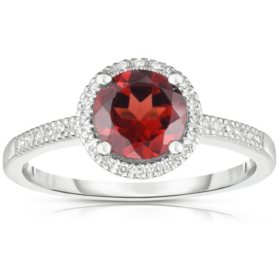 Round Garnet Ring with Diamonds in 14K White Gold