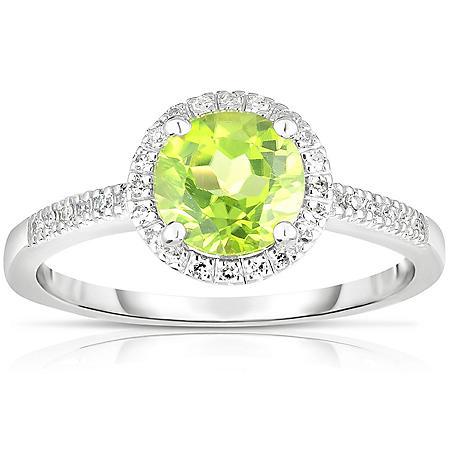 Round Peridot Ring with Diamonds in 14K White Gold