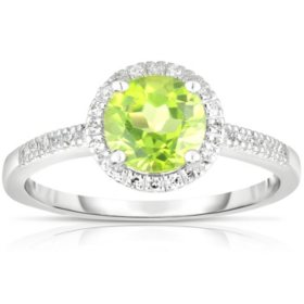 Round Peridot Ring with Diamonds in 14K White Gold