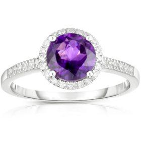 Round Amethyst Ring with Diamonda in 14K White Gold