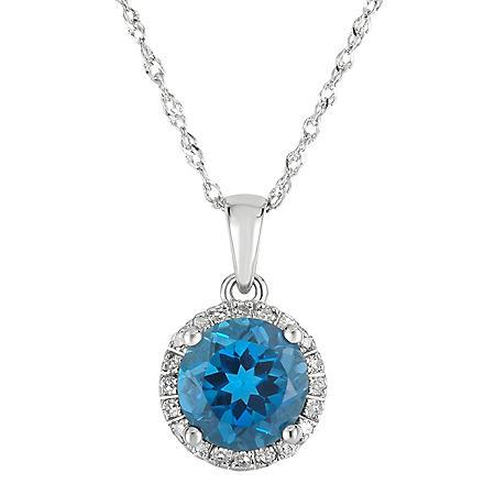 Round London Blue Topaz Pendant with Diamonds in 14K White Gold