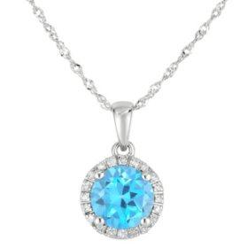 Round Blue Topaz Pendant with Diamonds in 14K White Gold