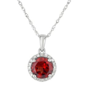Round Garnet Pendant with Diamonds in 14K White Gold