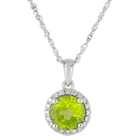 Round Peridot Pendant with Diamonds in 14K White Gold