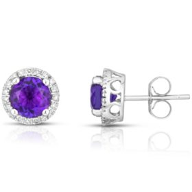 Round Amethyst Earrings with Diamonds in 14K White Gold
