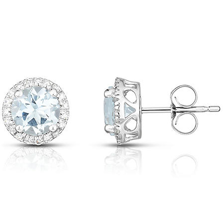 Round Aquamarine Earrings with Diamonds in 14K White Gold