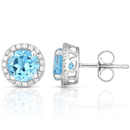 Round Blue Topaz Earrings with Diamonds in 14K White Gold