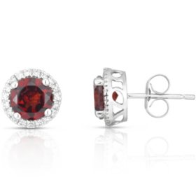 Round Garnet Earrings with Diamonds in 14K White Gold