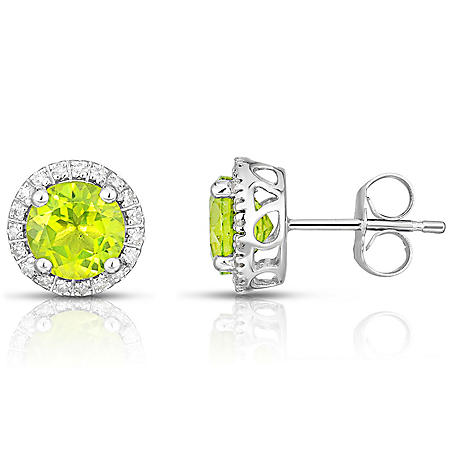 Round Peridot Earrings with Diamonds in 14K White Gold