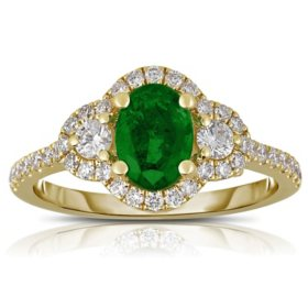 Oval Emerald Ring with Diamonds in 14K Yellow Gold