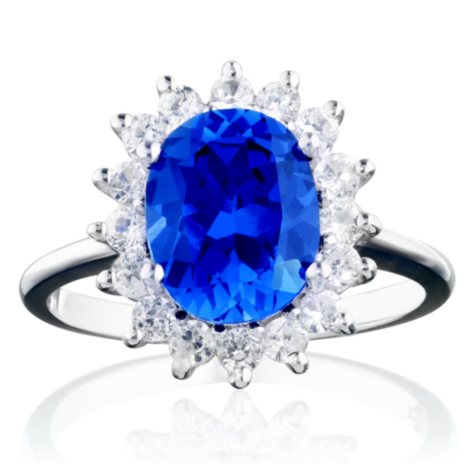 2.5 ct. Lab-Created Blue Sapphire & White Topaz Ring in 14K White Gold