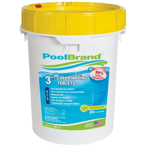 "PoolBrand 3"" Chlorinating Tablets - 40 lb."