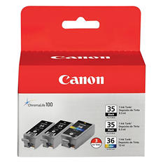 Canon CLI-36 Ink Tank Cartridge, Black/Tri-Color (3 pk.)