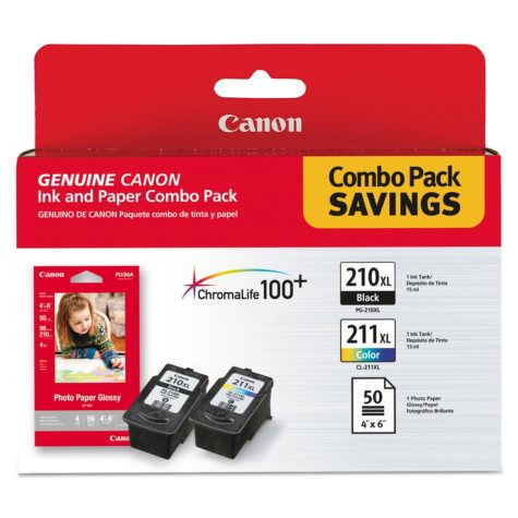 Canon PGI-210XL/CLI-211XL Ink Tank Cartridge & Paper Pack, Black/Tri-Color (2 pk.)