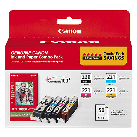 Canon PGI-220/CLI-221 Ink Tank Cartridge & Paper Pack, Black/Cyan/Magenta/Yellow (4 pk.)
