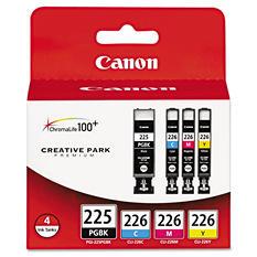 Canon PGI-225PGBK/CLI-226 Ink Tank Cartridge, Black/Cyan/Magenta/Yellow (4 pk.)