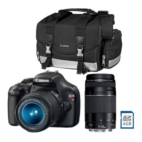 Canon T3 12.2MP Digital SLR Camera with 18-55mm IS Lens, 75-300mm Lens, DSLR Bag, and Memory Card