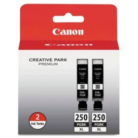 Canon PGI-250XL High Yield Ink Tank Cartridge, Black (2 pk., 500 Page Yield)