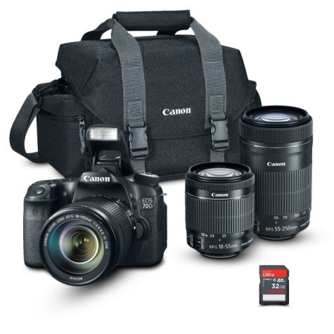 Canon EOS Rebel 70D Camera Bundle with  18-55 STM and 55-250 IS Lens, Camera Bag, and 32GB SD Card