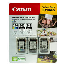 Canon PG-245XL/CL-246 Ink Tank Cartridge, Black/Tri-Color (3 pk)