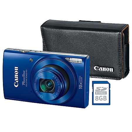 Canon PowerShot ELPH 190 IS 20MP Camera Bundle with 10x Optical Zoom, Camera Case and 8GB SDHC Card