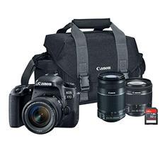 Canon EOS 77D 24.2MP DSLR Bundle with EF-S 18-55mm STM Lens, 55-250mm STM Lens, 32GB SD Card, and Camera Bag