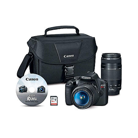 Canon EOS Rebel T7 24.1MP Digital SLR Camera Bundle with EF-S 18-55mm IS Lens, 70-300mm Lens, 32GB SD Card, Instructional Video and Camera Bag