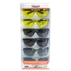 SafetyVU Safety Glasses, 4 Smoke and 2 Yellow, (6 pk.)