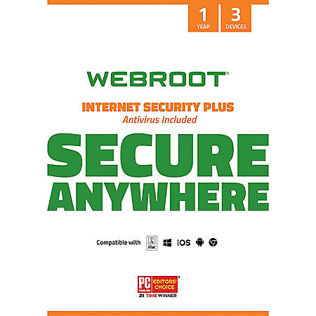 Webroot Internet Security Plus + Antivirus Software 3 Devices 1 Year PC/Mac