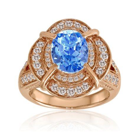 Blue Topaz, White Sapphire & Diamond Ring in 14K Rose Gold