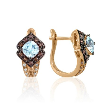 Aquamarine with White & Chocolate Diamond Earrings in 14K Rose Gold