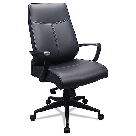 Tempur-Pedic by Raynor 300 Leather High-Back Chair, Black Leather Seat/Back