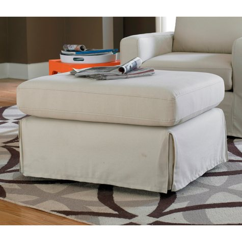 Lilly Slipcover Ottoman, Ivory