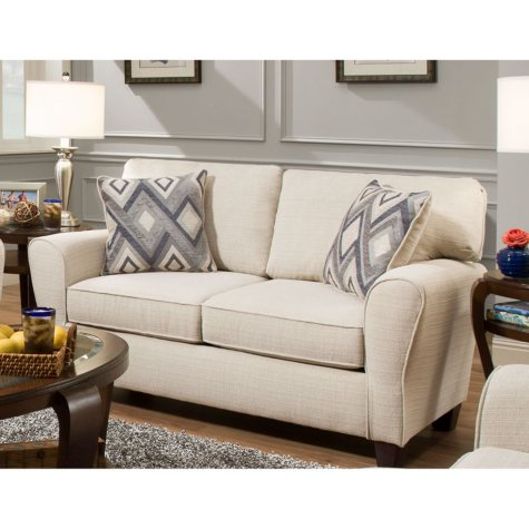 Sofa Smart Maggie Cream Love Seat With Reversible Accent Pillows