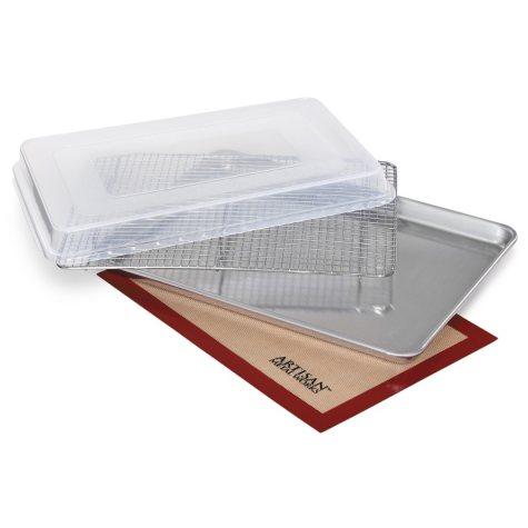 """Artisan Metal Works Half Sheet Pan, 4 Piece Set (13"""" x 18"""" x 1"""")"""