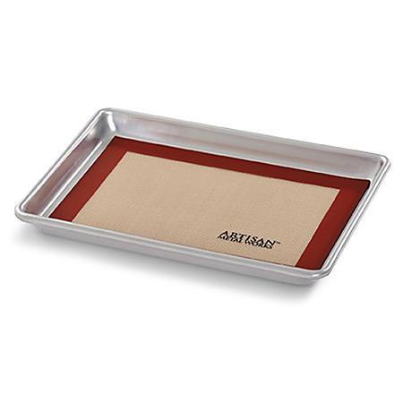 """Artisan Metal Works Quarter Sheet Pan (13"""" x 9.5"""" x 1"""") with Silicone Mat"""