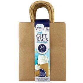 ArtSkills Kraft Brown Craft Gift Bags & Tissue Paper, 24Ct